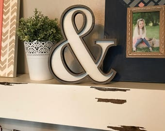 "Ampersand Wooden Marquee Cutout, Laser Cut Wood Letter ""&"" Sign, And Sign Wooden Wall Decor, Marquee Style Wood Letter Cutout"