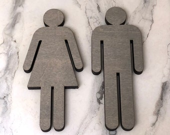 Bathroom People Wood Cutouts 7 Color Options! Laser Cut Restroom Men & Women Bathroom Decor, Boys, Girls Bath Sign