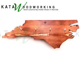 North Carolina Wood Cut-out Key Holder - Wall Mount - Handmade!