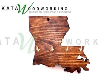 Louisiana Shaped Wood Cut-out Key Holder - Wall Mount - Handmade