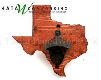 Texas Shaped Wood Cut-out Bottle Opener - Wall Mount - Handmade!