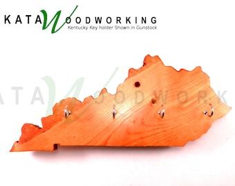 Kentucky Shaped Wood Cut-out Key Holder - Wall Mount - Handmade