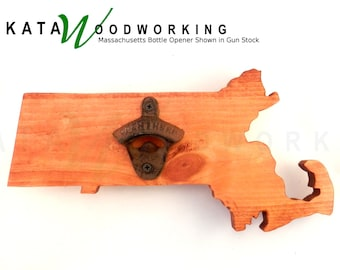 Massachusetts Shaped Wood Cut-out Bottle Opener - Wall Mount - Handmade!