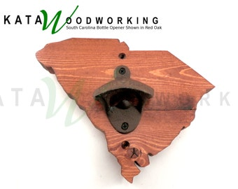 South Carolina Shaped Wood Cut-out Bottle Opener - Wall Mount - Hand made