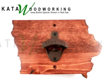 Iowa Shaped Wood Cut-out Bottle Opener - Wall Mount - Handmade!
