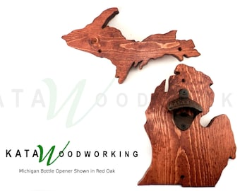 Michigan Upper & Lower Peninsula Wood Cut-out Bottle Opener - Wall Mount - Handmade