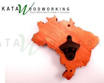 Brazil Wood Cut-out Bottle Opener -Wall Mount -  Handmade!