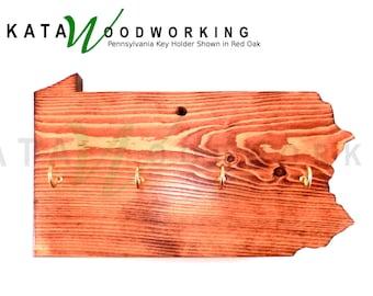 Pennsylvania Shaped Wood Cut-out Key Holder - Wall Mount - Handmade