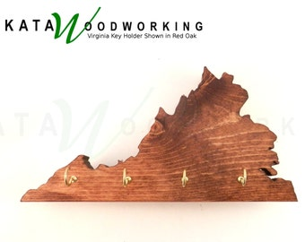 Virginia shaped Wood Cut-out Key Holder - Wall Mount – Handmade!