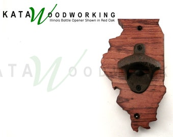 Illinois Shaped Wood Cut-out Bottle Opener - Wall Mount - Handmade