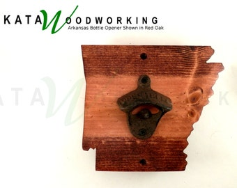 Arkansas Shaped Wood Cut-out Bottle Opener - Wall Mount - Handmade!