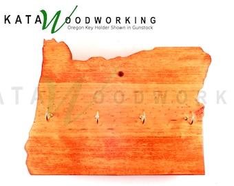 Oregon Shaped Wood Cut-out Key Holder - Wall Mount - Handmade