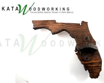 Florida Shaped Wood Cut-out Bottle Opener - Wall Mount - Handmade!
