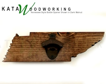 Tennessee shaped Wood Cut-out Bottle Opener - Wall Mount - Handmade!