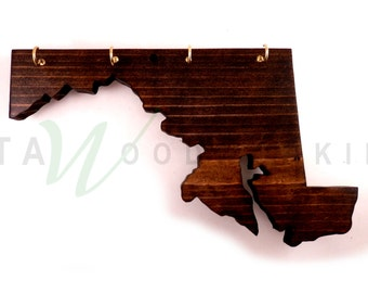 Maryland Wood Cut-out Key Holder - Wall Mount - Handmade!