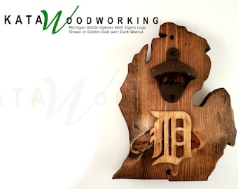 """Michigan Wall-Mount Bottle Opener with Old English """"D"""" - Handmade"""