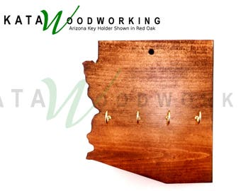 Arizona Shaped Wood Cut-out Key Holder - Wall Mount - Handmade