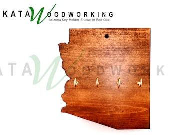 Arizona Shaped Wood Cut-out Key Holder - Wall Mount - Handmade