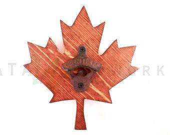 Maple Leaf Wood Cut-out Bottle Opener - Wall Mount - Handmade