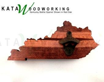Kentucky Shaped Wood Cut-out Bottle Opener - Wall Mount - Handmade!
