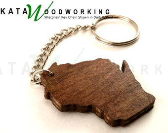 Wisconsin shaped wood key chain - Handmade -