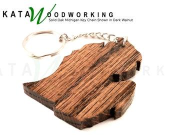 Solid Oak Michigan shaped wood key chain - Handmade