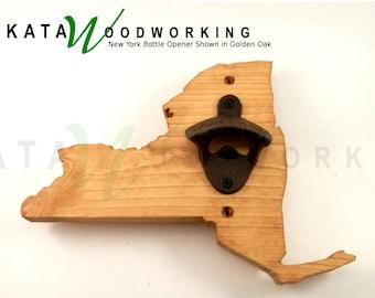 New York Wood Cut-out Bottle Opener - Wall Mount - Handmade