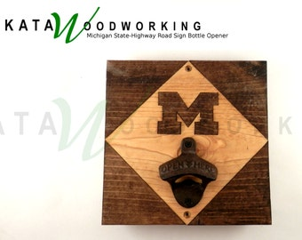 Michigan Highway (Trunkline) Road Sign, Wood Cut-out Bottle Opener