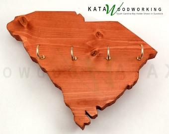 South Carolina Wood Cut-out Key Holder - Wall Mount - Handmade!