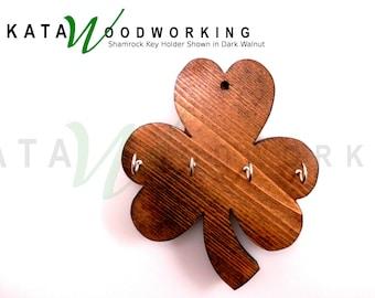Shamrock Wood Cut-out Key Holder -Wall Mount -  Handmade!