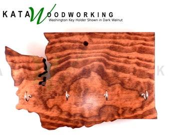 Washington Shaped Wood Cut-out Key Holder - Wall Mount - Handmade