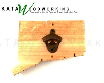 Connecticut Shaped Wood Cut-out Bottle Opener - Wall Mount - Handmade!