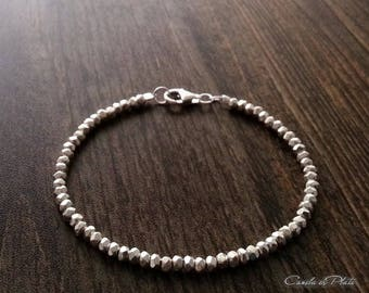 Karen Hill tribe silver 4mm beads faceted bracelet. Fine silver faceted beads bracelet. Bridal bracelet. Solid silver bracelet