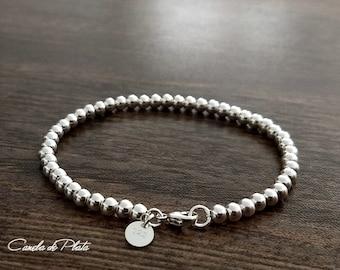 Sterling Silver Bead Bracelet, 4 mm. Sterling Ball Bracelet, Everyday Wear, Casual Bracelet. Stackable bracelet