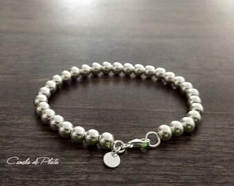 Bracelet 6mm Sterling Silver Bead Bracelet Everyday Wear   Etsy