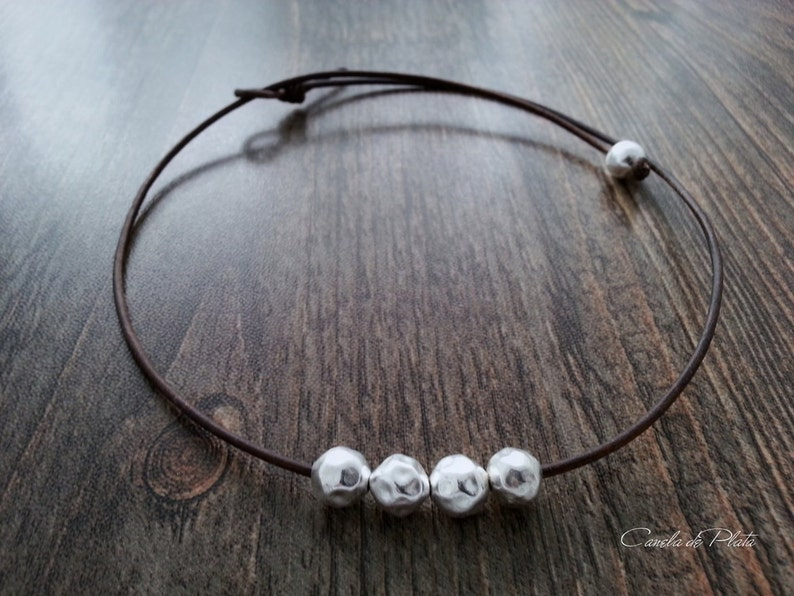 Choker leather and hammered sterling silver balls Boho necklace