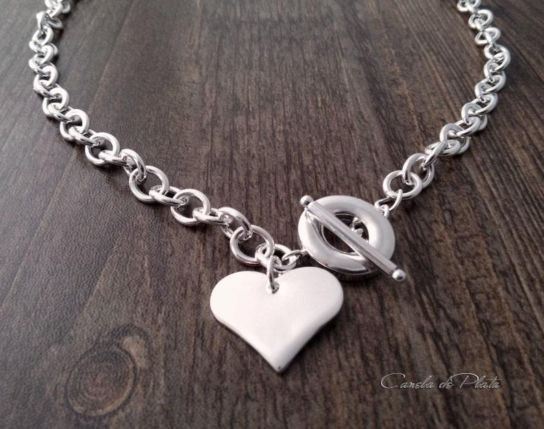 b646afa2e829 Collar bañado en plata 925 cadena gruesa con colgante corazón