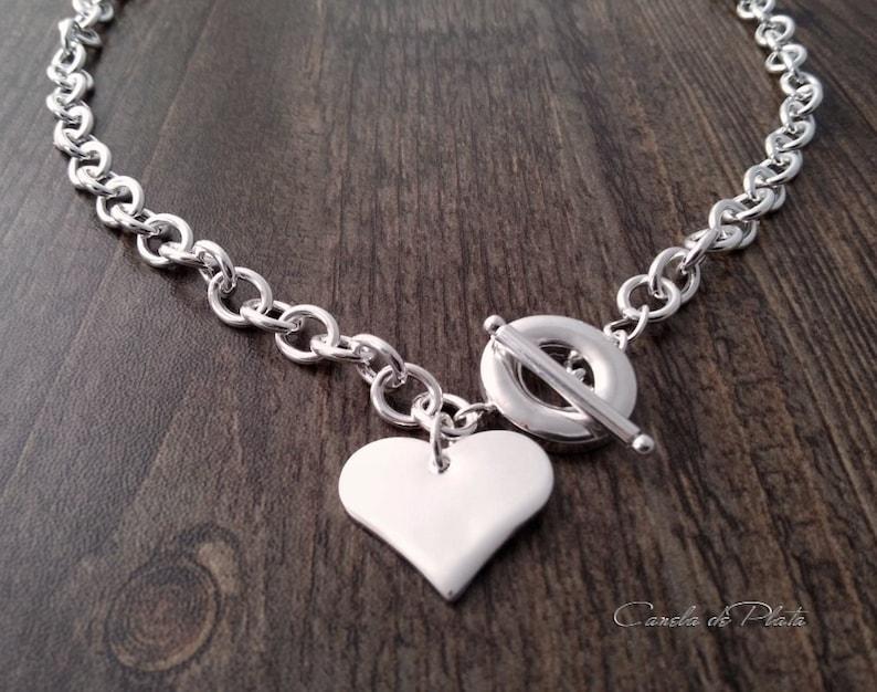 193be59d0f69 Collar bañado en plata 925 cadena gruesa con colgante corazón