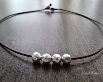 Choker leather and hammered sterling silver balls. Boho necklace