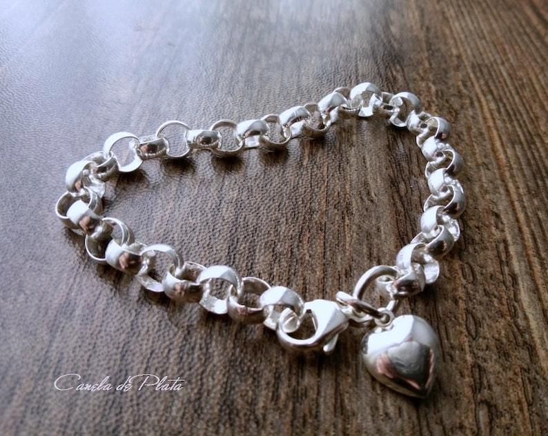 1d1d772d826a Pulsera plata 925 cadena rolo 6.6 mm con colgante corazón.