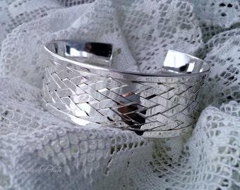 Sterling silver Bangle Cuff, Sterling Silver plated  Bracelet, Wide bracelet  sterling silver plated.