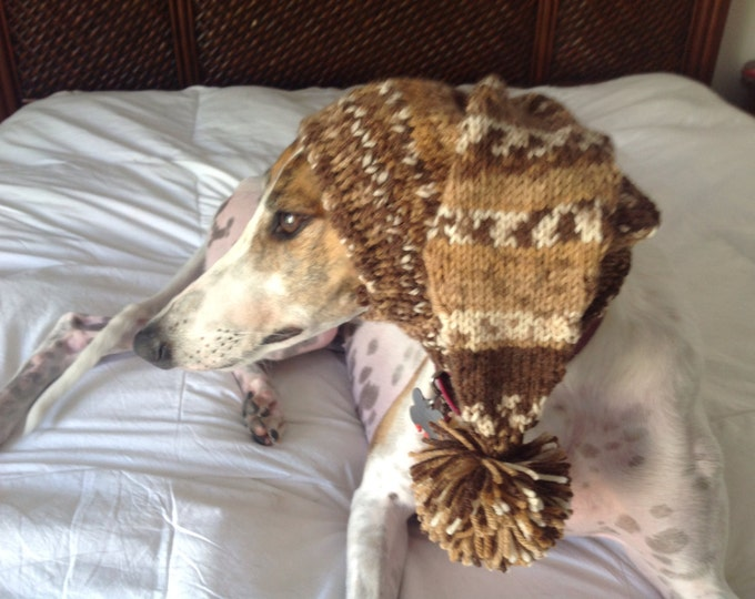 Pointed Hat with Snood for Greyhound--fair isle pattern Capers