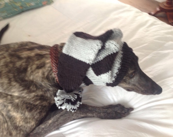 Greyhound hat with snood in Black and Grey sports stripes