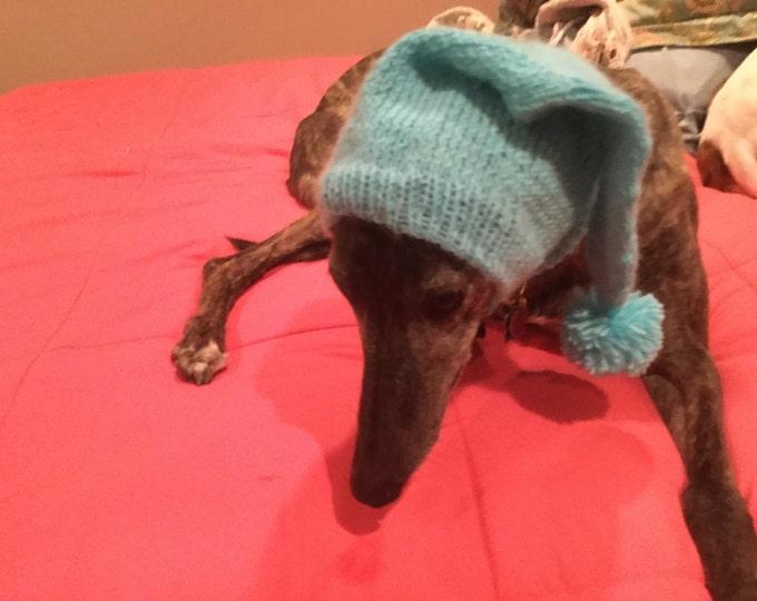 Greyhound hat with snood Aqua Splash--super soft!
