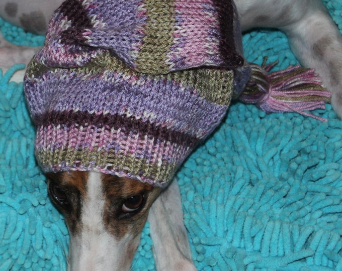 Pointed Hat with Snood for Greyhound or Other Large Sighthound-Lilac Ridge patterned yarn