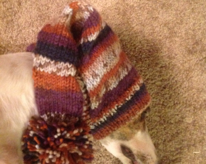 Pointed Hat with Snood for Greyhound --fair isle pattern Riverbed