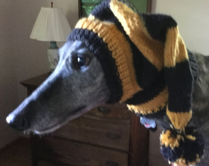 Greyhound hat with snood in  Gold and Black sports stripes