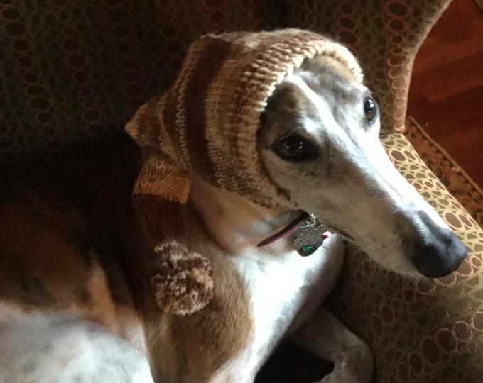 Pointed Hat with Snood for Greyhound or Other Large Sighthound-908 Desert