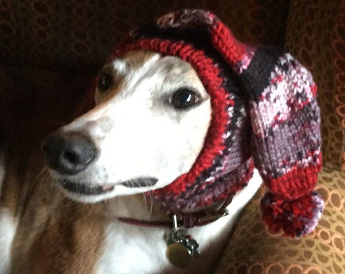 Pointed Hat with Snood for Greyhound --Lava
