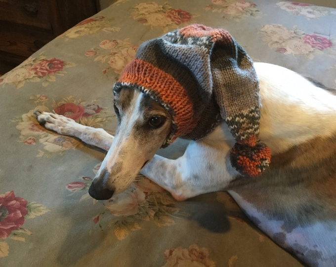 Pointed Hat with Snood for Greyhound -Alize 4327 Greens & Orange